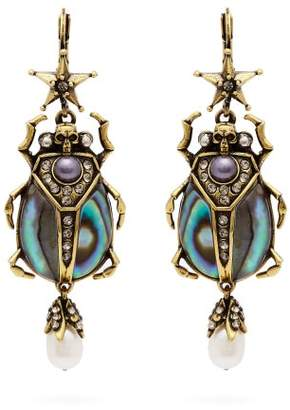 Alexander McQueen Crystal And Pearl Embellished Beetle Earrings - Womens - Blue
