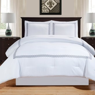 Superior Layla Collection Embroidered All Season Breathable & Hypoallergenic, Wrinkle Resistant Down Alternative Comforter Set