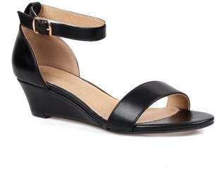 Mark and Maddux Two piece Women's Low Wedge Heel in Black