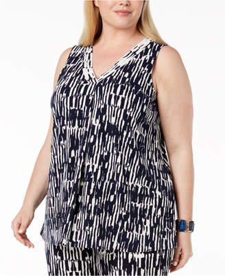 Alfani Plus Size Printed Draped V-Neck Tank