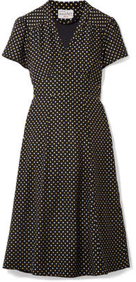 HVN - Morgan Metallic Polka-dot Silk Crepe De Chine Dress - Black