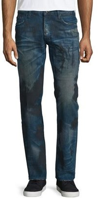 PRPS Barracuda Dirty-Wash Denim Jeans, Blue $300 thestylecure.com