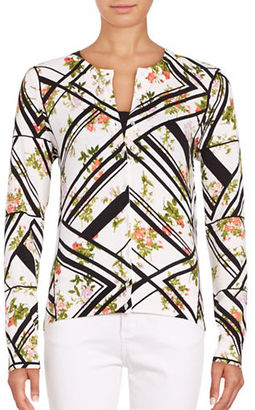 Lord & Taylor Geometric and Floral Print Cardigan $54 thestylecure.com