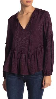 Lucky Brand Luxe Jacquard Ruffle Peasant Blouse
