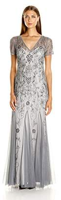Adrianna Papell Women's Short Sleeve Beaded Godet Gown $369 thestylecure.com