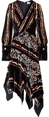 Peter Pilotto Wrap-effect Printed Velvet Midi Dress - Midnight blue