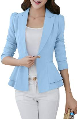 YMING Classic Suit for Women One Button Jacket Long Sleeve Blazer ,L