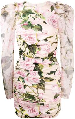Dolce & Gabbana ruched floral mini dress