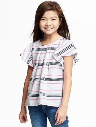 Relaxed Ruffle-Sleeve Herringbone Top for Girls $22.94 thestylecure.com