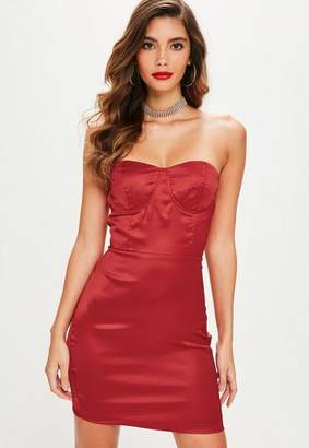 Missguided Red Satin Bustcup Bandeau Bodycon Dress, Red