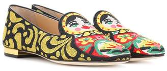 Charlotte Olympia Matrioska embroidered loafers