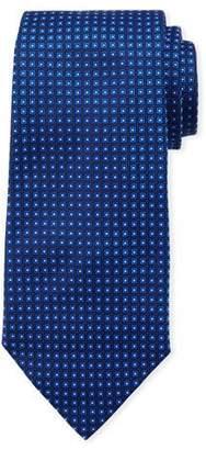 Emporio Armani Neat Small Square Silk Tie, Bright Blue