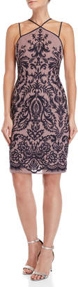BCBGMAXAZRIA Embroidered Chiffon Halter Dress