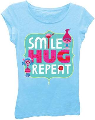 "TROLLS Girls' Poppy and Cooper ""Smile, Hug, Repeat"" Short Puff Sleeve Graphic Tee T-Shirt With Pink Glitter"
