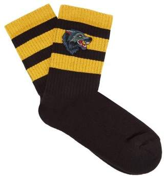 Gucci Wolf Embroidery Striped Cotton Blend Socks - Mens - Black