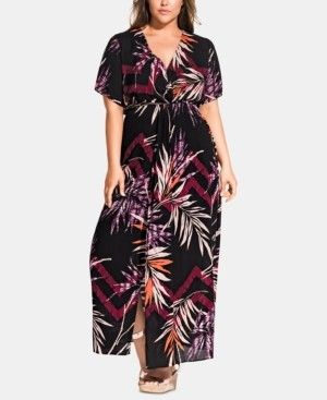 City Chic Trendy Plus Size Printed Short-Sleeve Maxi Dress