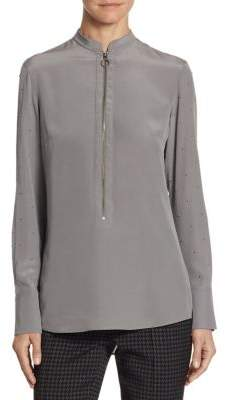 Akris Punto Silk Zip-Front Top