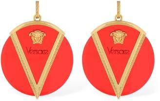 Versace Round Medusa Logo Earrings