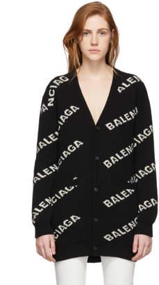 Balenciaga Black and Off-White All Over Logo Cardigan