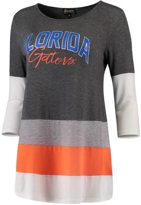 Unbranded Women's Charcoal/Orange Florida Gators Block Party Color Blocked Drapey Long Sleeve Tri-Blend Tunic Shirt