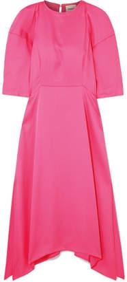 Khaite - Cynthia Gathered Crepe Midi Dress - Bright pink