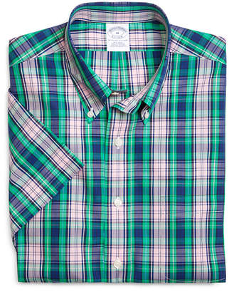 Brooks Brothers Supima Cotton Non-Iron Slim Fit Large Plaid Short-Sleeve Sport Shirt