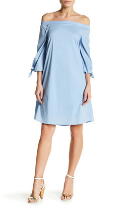 Bobeau Poplin Off-the-Shoulder Dress $78 thestylecure.com