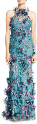 Marchesa 3D Floral Halter Gown with Embroidery
