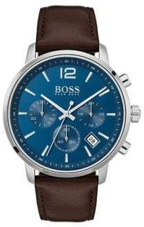 HUGO BOSS Attitude Chronograph Leather-Strap Watch