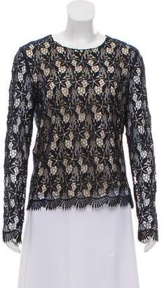 Magaschoni Floral Lace Long Sleeve Top