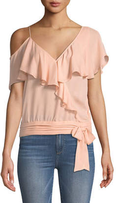 Paige Chereen Ruffle One-Shoulder Silk Top
