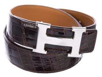 Hermes Porosus Crocodile Reversible H Belt Kit