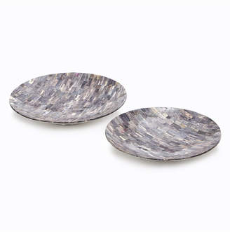 Twos Company Set of 2 Grey Mosaic Round Decorative Platters