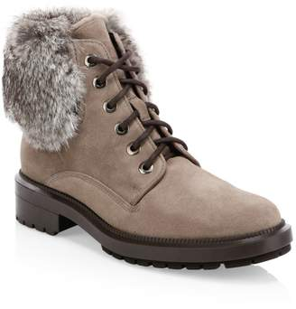 Aquatalia Lacy Rabbit Fur & Shearling-Lined Combat Boots