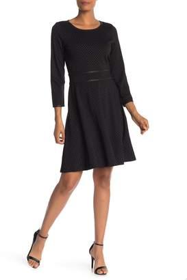 Max Studio Pindot 3/4 Sleeve Dress