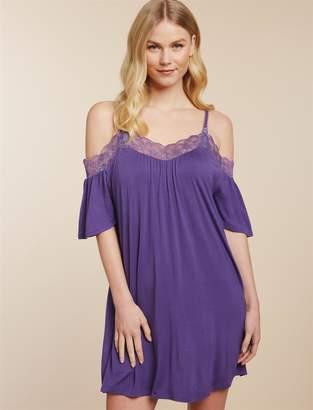 Jessica Simpson Motherhood Maternity Clip Down Lace Trim Nursing Nightgown