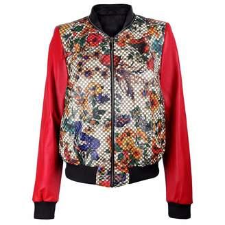 Vols & Original Floral Print Red Bomber Jacket