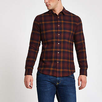 River Island Only and Sons purple check long sleeve shirt