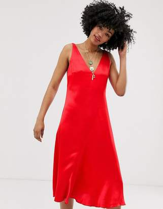 And other stories &  sleeveless bias cut midi dress in red