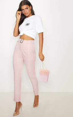 PrettyLittleThing Dusty Pink Belted Tailored Trousers