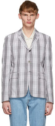 Thom Browne White and Black Unstructured Check Blazer