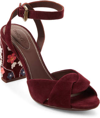See by Chloe Dark Red Embroidered Suede Pumps