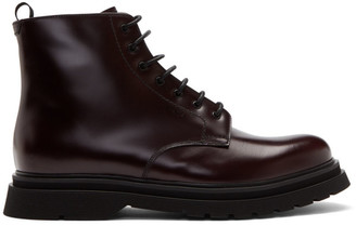 Prada Burgundy Lace-Up Boots