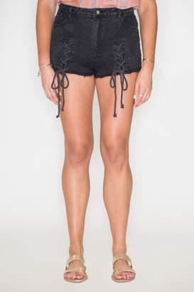 Honeybelle Honey Belle Lace-Up Denim Shorts