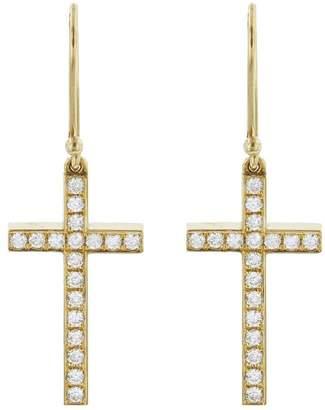 Established Diamond Mini Cross Drop Earrings - Yellow Gold
