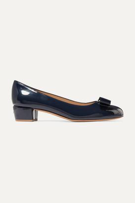 Salvatore Ferragamo Vara Bow-embellished Patent-leather Pumps - Navy