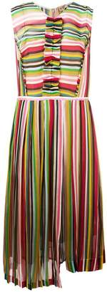 No.21 striped pleated dress