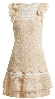 Jonathan Simkhai Ruffle Trimmed Macrame Lace Dress - Womens - Cream
