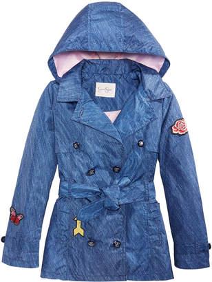 Jessica Simpson Big Girls Denim Patch Trench Coat