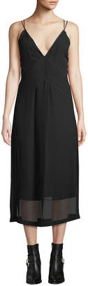 Rag & Bone Anais Deep V Silk Dobby Midi Dress